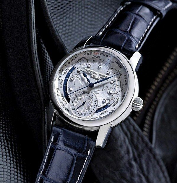 Frederique-Constant-Worltimer-Map-Dial-On-Navy-Strap