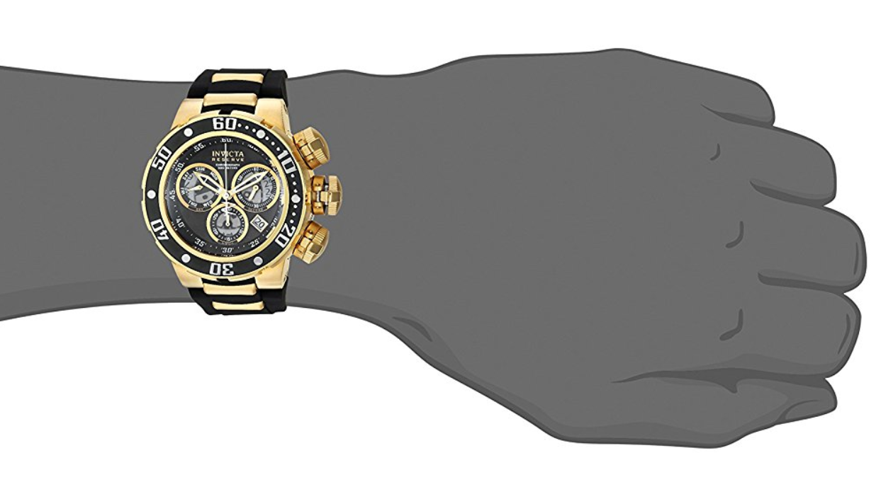 Invicta Men's Reserve Gold-Tone Polyurethane Band Steel Case