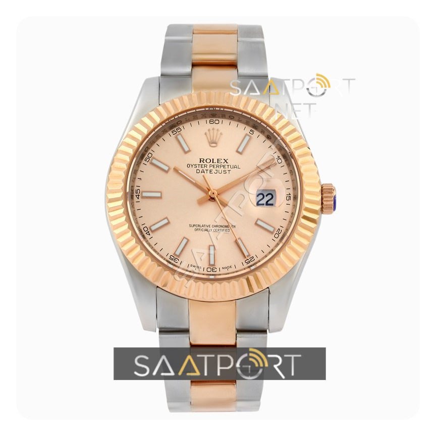 Rolex date just rose gold rose dial