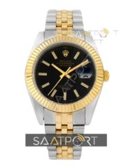 Rolex date just black dial jubile