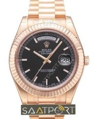 Rolex day date rose gold black 41 mm eta saat mekanizma