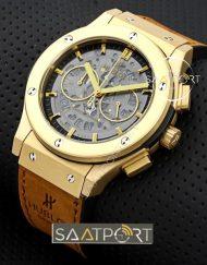 Hublot Sarı Kasa İskelet Görünümlü Cronometreli saat
