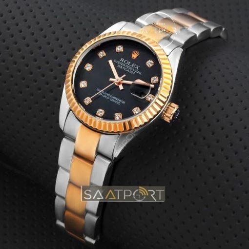 Replika Rolex Bayan Saat Taşlı Siyah kadran rose