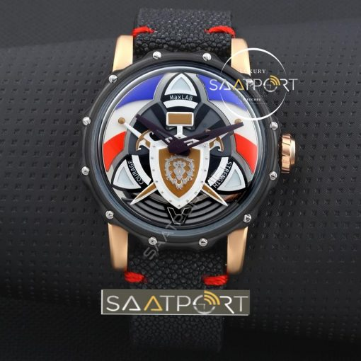 Maxlabwatches Space Black Case With Black Devi Fish Skin