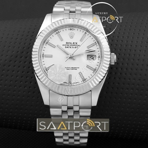 Replika Rolex Datejust Beyaz kadran gümüş kasa (1)