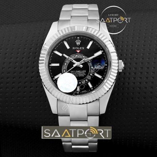 Rolex sky dweller replika saat siyah kadran replika saatler