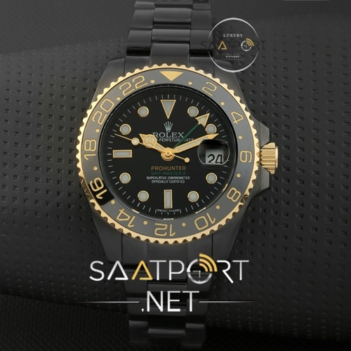 Rolex GMT modeli Siyah pvd kaplama otomatik replika imistasyon