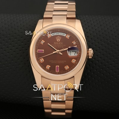 Rolex DAY-DATE 36mm Rose Gold Chocolate Ruby Diamond