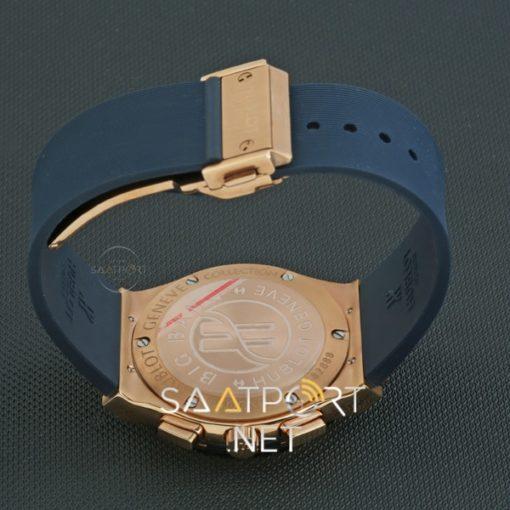 Hublot Kronometreli Gold Baget Taşlı Mavi Kadran