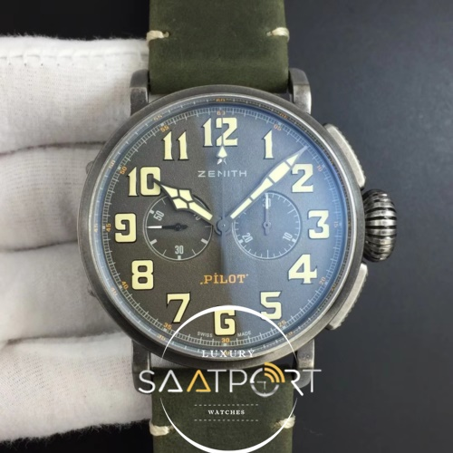 Heritage Pilot Ton-up Aged SS Case XF 11 Best Edition on Green Nubuck Strap A7750 (1)