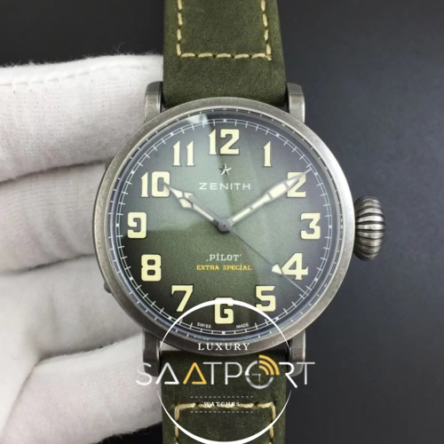 Pilot Type 20 Extra Special 40mm Aged SS Case XF 11 Best Edition on Asso Strap A7750 (Green) (1)
