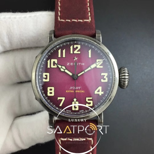 Pilot Type 20 Extra Special 40mm Aged SS Case XF 11 Best Edition on Asso Strap Swiss Eta (Pink) (1)