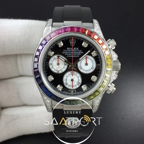 Rolex Daytona 116595RBOW RG Rainbow Silver BLF Best Edition Black Dial on Rubber Strap 4130