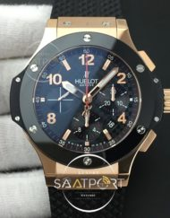 Big Bang 44MM HBBV6 Rose Gold Polished Ceramic Bezel CF Black Dial Full RG Ceramic on Black Rubber Strap HUB4104