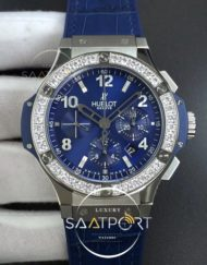 Hublot Big Bang 44mm SS V6F 11 Best Edition Blue Dial Diamonds Bezel on Blue Gummy Strap HUB4104