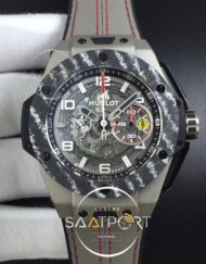 Hublot Big Bang Ferrari F4 Titanium Carbon Bezel V6F Best Edition Skeleton Dial on Gray Gummy Strap HUB1288
