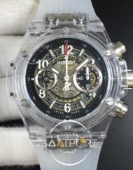 Hublot Big Bang Unico Magic Sapphire 45mm HB Maker Best Edition Black Skeleton Dial on Transparent Rubber Str (1)