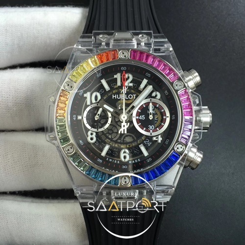 Hublot Big Bang Unico Magic Sapphire 45mm OXF Best Edition Rainbow Crystal Bezel White Dial on Black Rubber Strap A1242