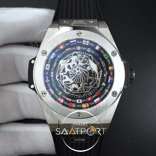 Hublot Big Bang Unico Sang Bleu SS HBF Flags Inner Bezel Skeleton Dial on Black Gummy Strap HUB1213