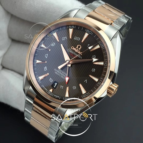 Omega Aqua Terra 150M GMT SSRG VSF 11 Best Edition Brown Textured Dial on SSRG Bracelet A8605 Super Clone