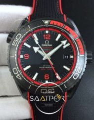 OMEGA Planet Ocean 45.5mm Deep Black blue Real Ceramic VSF 11 Best Edition on Black Nylon Strap