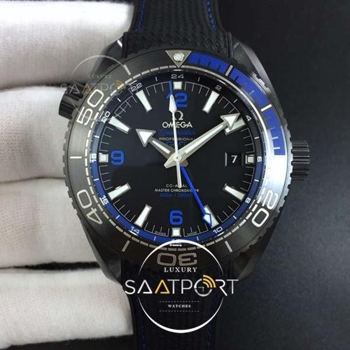 OMEGA Planet Ocean 45.5mm Deep Black blue Real Ceramic VSF 11 Best Edition on Black Nylon Strap (1)
