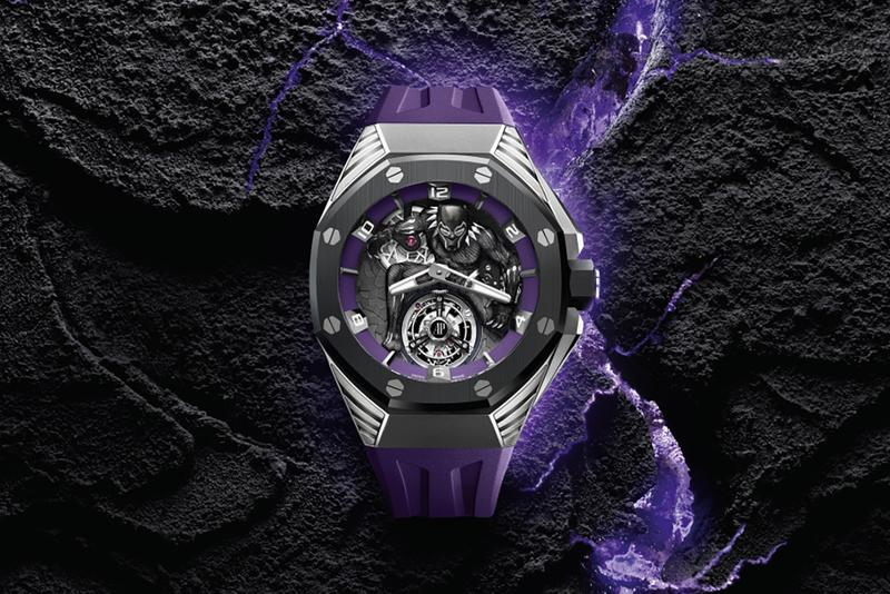 Audemars piguet Panther tourbillon Epi X Marvel Royal Oak Concept serisi Black