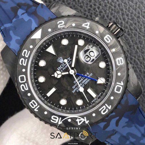 Rolex Karbon Saat Mavi Kasa Gmt Master Eta Saat Swiss Super Clon 3186 Eta Mekanizma
