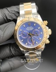 Rolex Saat Otomatik Daytona Mavi Kadran Gold Bezel Çelik Kordon