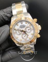 Rolex Saat Otomatik Daytona Taşlı Beyaz Kadran Gold Bezel Çelik Kordon