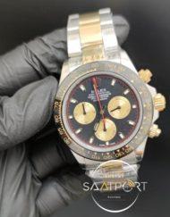 Rolex Saat Otomatik Daytona Gold Gösterge Siyah Kadran Seramik Bezel