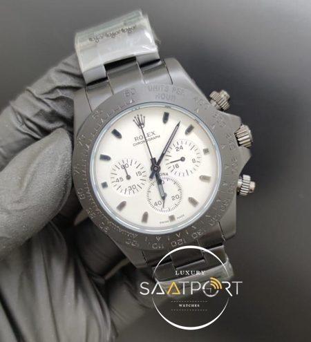 Rolex Saat Otomatik Mekanizma Daytona Beyaz Kadran Siyah Çelik Kasa