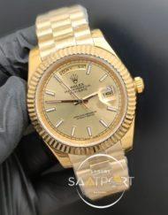 Rolex Saat Day Date Otomatik 41mm Gold Kadran Gold Tırtıklı Bezel