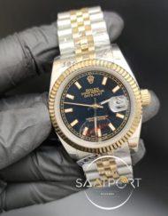 Rolex Datejust Tırtıklı Gold Bezel Siyah Kadran Jubile Kordon Otomatik Mekanizma