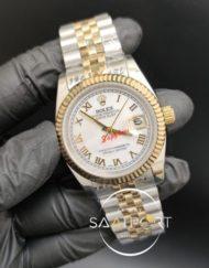 Rolex Datejust Roma Rakamlı Beyaz Kadran Tırtıklı Bezel Jubile Kordon Otomatik Mekanizma
