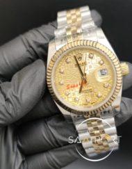 Rolex Datejust Baget Taşlı Desenli Gold Kadran Tırtıklı Bezel Jubile Kordon Otomatik Mekanizma