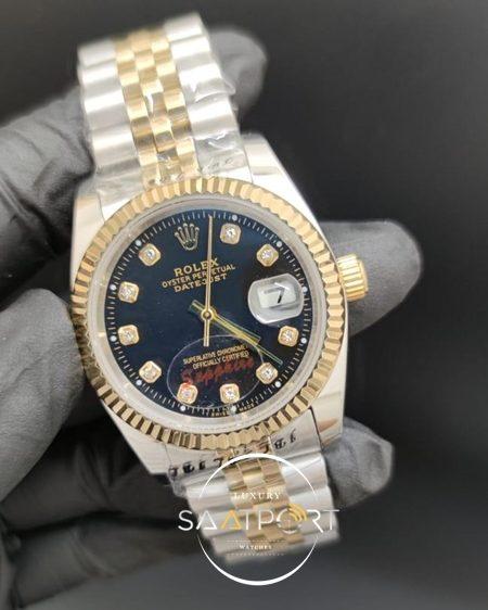 Rolex Datejust Taşlı Siyah Kadran Tırtıklı Gold Bezel Jubile Kordon Otomatik Mekanizma