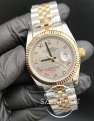Rolex Datejust Roma Rakamlı Kirli Beyaz Kadran Trtıklı Bezel Jubile Kordon Otomatik Mekanizma