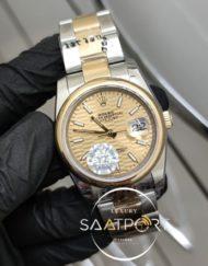 Rolex Datejust Desenli Gold Kadran Paslanmaz Çelik Bezel Ve Kordon