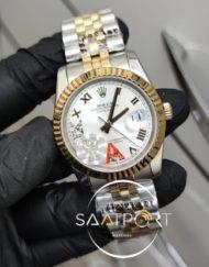 Rolex Saat Otomatik Mekanizma DateJust Roma Rakamlı Taşlı Kadran Jubile Kordon