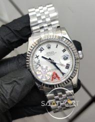 Rolex Saat DateJust Roma Rakamlı Taşlı Beyaz Kadran Jubile Kordon Tırtıklı Bezel