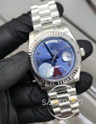 Rolex Saat Day Date Roma Rakamlı Mavi Kadran Tırtıklı Bezel Otomatik Mekanizma