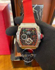 Richard Mille Chronograph RM050-03 Mclaren Limited Çelik Kasa Kırmızı Kordon