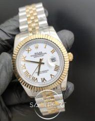 Rolex Saat Datejust Oyster Perpetual Roma Rakamlı Beyaz Kadran Tırtıklı Bezel