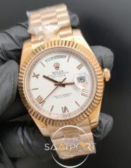 Rolex Saat Datejust Rose Kasa Roma Rakamlı Beyaz Kadran Tırtıklı Bezel