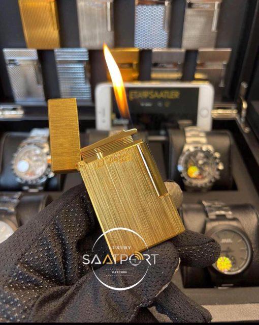 S.T. Dupont Paris Gold Çelik Kasa Dik Çizgi Desenli Çakmak