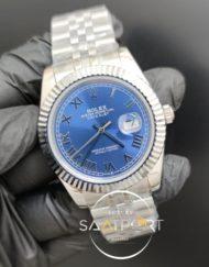 Rolex Saat Datejust Otomatik Mavi Oyster Perpetual Roma Rakamlı Kadran Tırtıklı Bezel