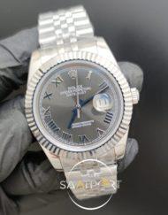 Rolex Saat Datejust Oyster Perpetual Roma Rakamlı Gri Kadran Tırtıklı Çelik Bezel