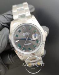 Rolex Saat Datejust Yeşil Roma Rakamlı Kadran Otomatik Mekanizma Çelik Kasa