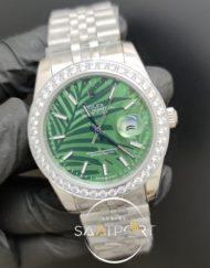 Rolex Saat Datejust Desenli Yeşil Kadran Taşlı Bezel Jubile Kordon
